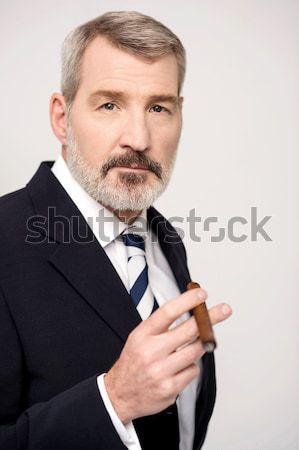 Foto stock: Como · me · charuto · retrato · empresário · fumador