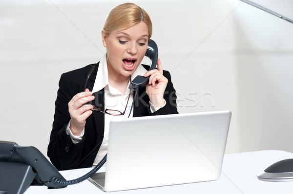 Woman trying to convince client over the phone Stock photo © stockyimages