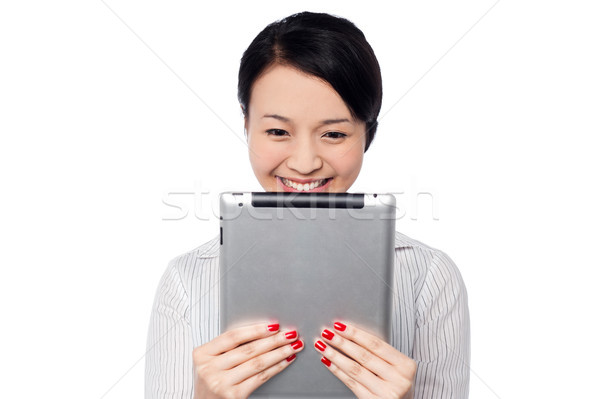 Shy bella corporate signora tablet Foto d'archivio © stockyimages