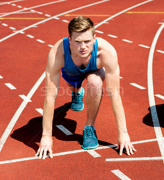 Photo stock: Homme · athlète · prêt · courir · course · jeunes