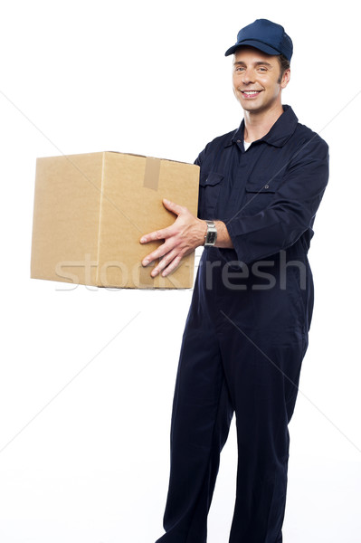 Worker unloading and loading carton Stock photo © stockyimages