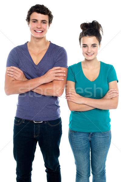 Foto stock: Adolescente · los · brazos · cruzados · aislado · blanco · hombre · Pareja