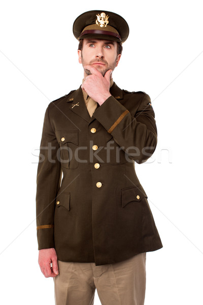 Thoughtful young army officer Stock photo © stockyimages