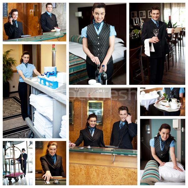 Bienvenida hotel servicios collage personal Foto stock © stockyimages