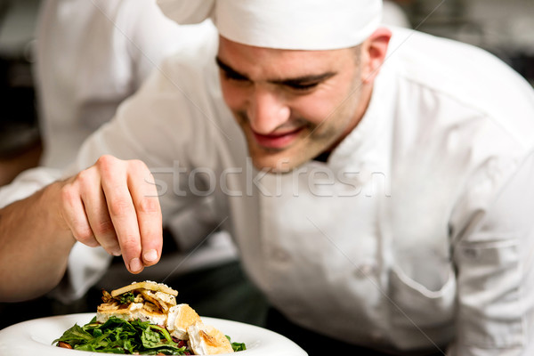 Male chef decorating salad of goat cheese Stock photo © stockyimages