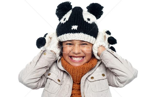Manier luid verlagen volume beneden meisje Stockfoto © stockyimages