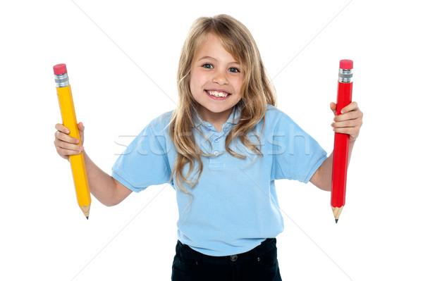 無邪気な 子 ポーズ カラフル 鉛筆 興奮した ストックフォト © stockyimages