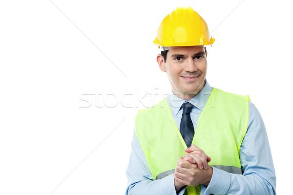 Projekt idő mérnök kéz a kézben kezek üzletember Stock fotó © stockyimages