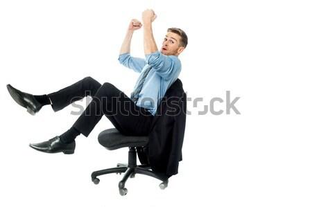 Ja erreicht Ziel aufgeregt Geschäftsmann Stock foto © stockyimages