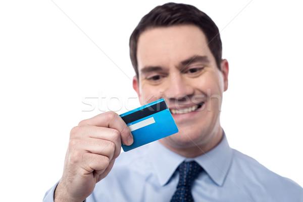 Mi tarjeta de débito sonriendo empresarial hombre mirando Foto stock © stockyimages