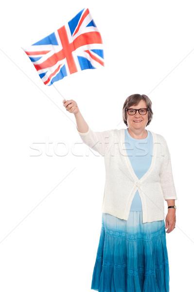 Stock fotó: Idős · hölgy · tart · zászló · integet · izolált