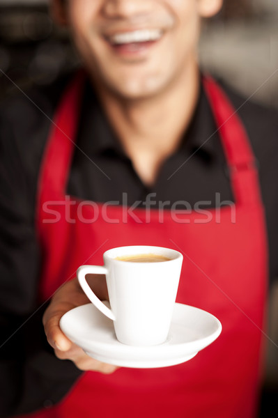 Freshly brewed coffee served with a smile Stock photo © stockyimages