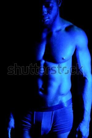 Shirtless african muscular man Stock photo © stockyimages