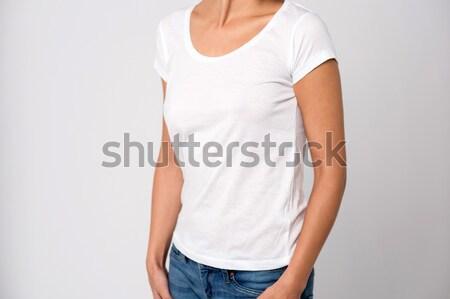 Középső rész fiatal nő kép fiatal fehér Stock fotó © stockyimages