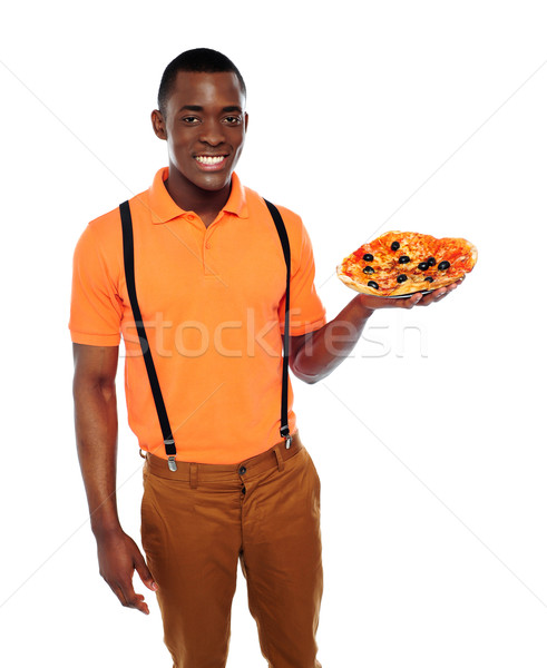 Foto stock: Bonito · homem · negro · pizza · isolado · branco