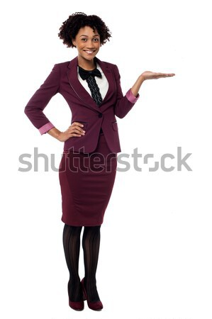 Stock photo: Corporate african lady presenting copy space