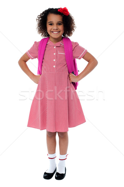 Stockfoto: Klaar · school · cute · schoolmeisje · uniform