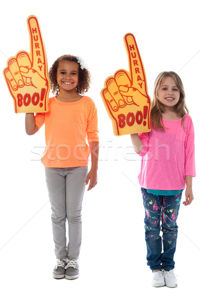 Enthusiastic sports fans Stock photo © stockyimages