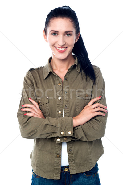 Confident smiling girl in trendy casuals Stock photo © stockyimages