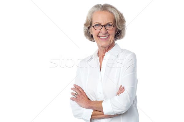 Portret glimlachend oude dame mooie Stockfoto © stockyimages