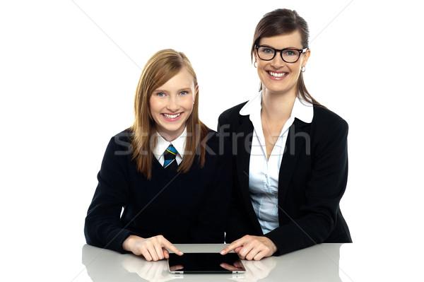 Tuteur étudiant caméra souriant Photo stock © stockyimages