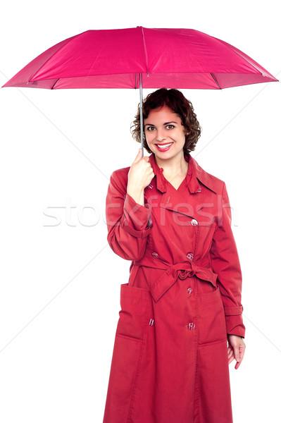 Fiatal divatos nő tart esernyő trendi Stock fotó © stockyimages