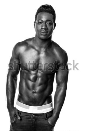 Portrait jeunes sexy torse nu homme blanc noir Photo stock © stockyimages