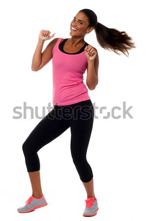 Fitness entusiasmo eccitato ragazza Foto d'archivio © stockyimages