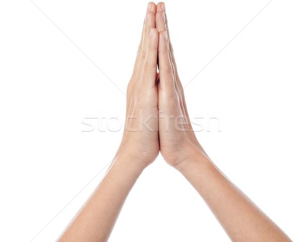 Gebed menselijke handen bidden aanbidden Stockfoto © stockyimages