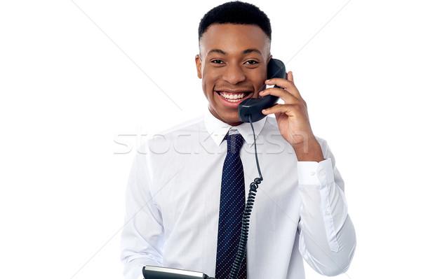 Délelőtt örvend hall jóképű férfi igazgató Stock fotó © stockyimages