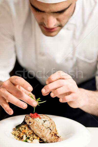 Nyami hal kész felszolgált közelkép szakács Stock fotó © stockyimages