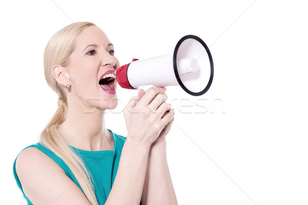 Excite woman shout with megaphone Stock photo © stockyimages