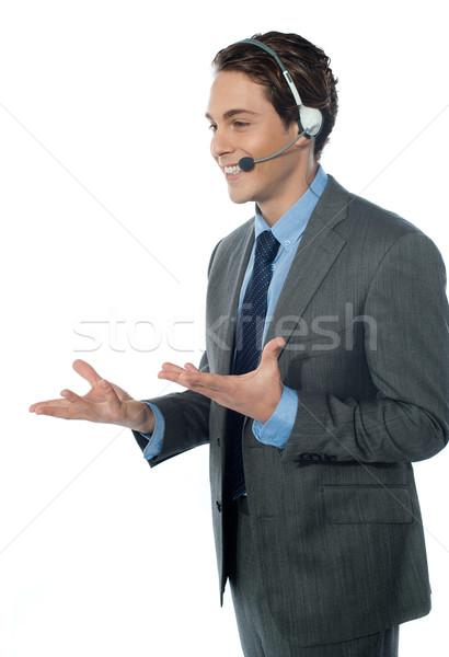 ügyfélszolgálat kezelő headset izolált fehér üzlet Stock fotó © stockyimages