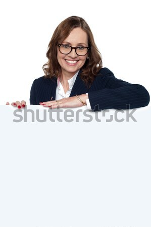 Business ad heraus hierher Corporate Frau Stock foto © stockyimages