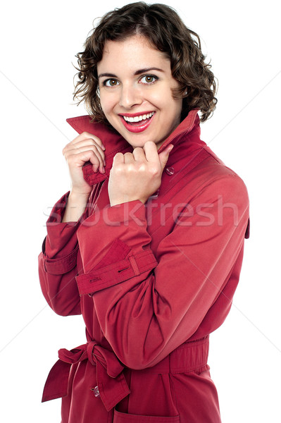 Cheerful young female in fashionable attire Stock photo © stockyimages