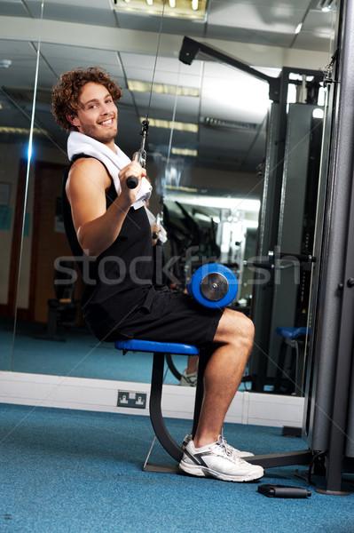 男 行使 ヘルプ 油圧 ハンサム ストックフォト © stockyimages
