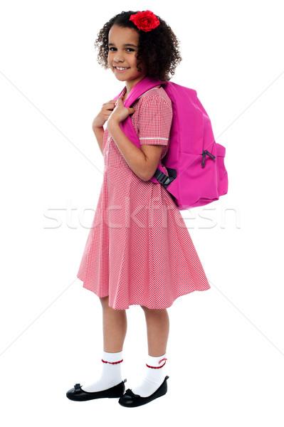 Stockfoto: Gekruld · meisje · schoolmeisje · uniform