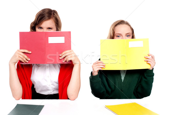 Naughty schoolgirls hiding behind the book Stock photo © stockyimages
