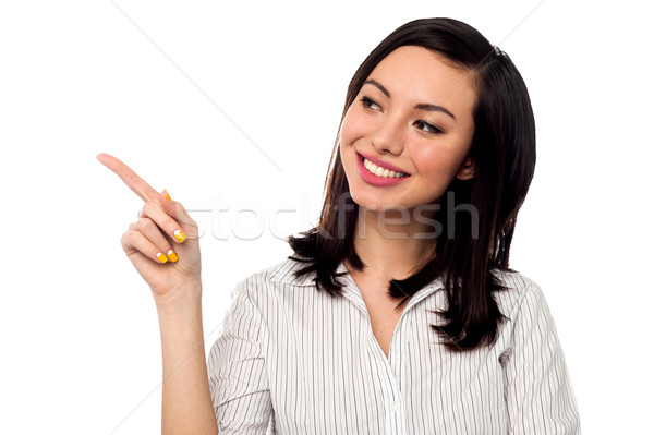 Stock photo: Business entrepreneur pointing away