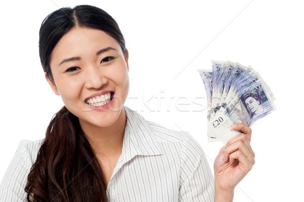 Mujer bonita ventilador moneda notas feliz Foto stock © stockyimages