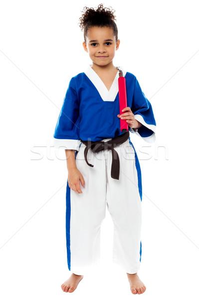 Karate kız gülen genç spor Stok fotoğraf © stockyimages