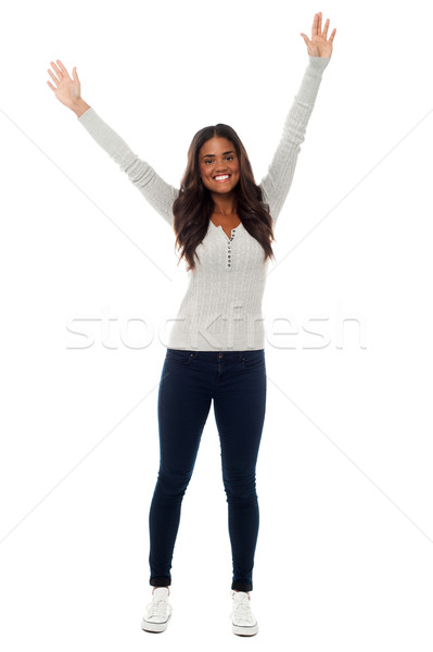 Young girl rejoicing in excitement Stock photo © stockyimages