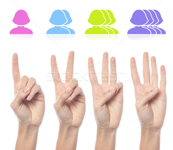 Female hand count one to four sign Stock photo © stockyimages