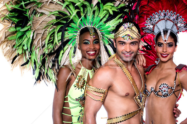 Stockfoto: Vieren · carnaval · mooie · dansers · verbazingwekkend · kostuum