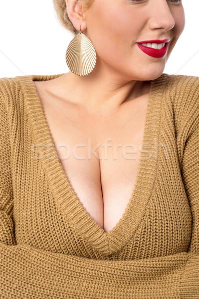 Fiatal nő vállak közelkép dekoltázs kép nő Stock fotó © stockyimages
