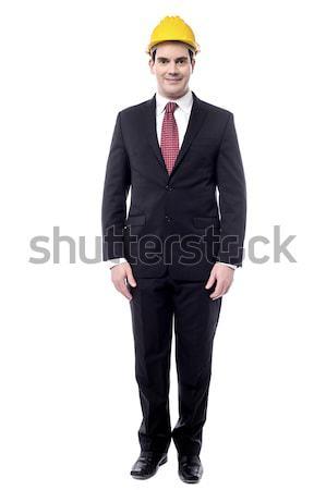 Projekt idő teljes alakos férfi mérnök áll Stock fotó © stockyimages