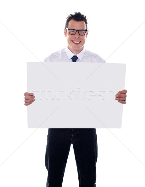 Representative holding blank signboard Stock photo © stockyimages
