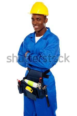 Foto stock: Sorridente · africano · trabalhador · posando · isolado
