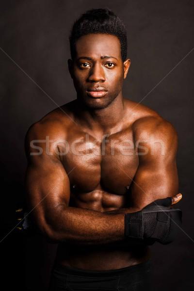 Taai afrikaanse tegenstander bokser halve lengte portret Stockfoto © stockyimages