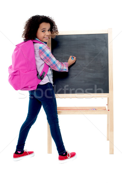 Stockfoto: Terug · naar · school · weinig · schoolmeisje · schrijven · Blackboard · meisje